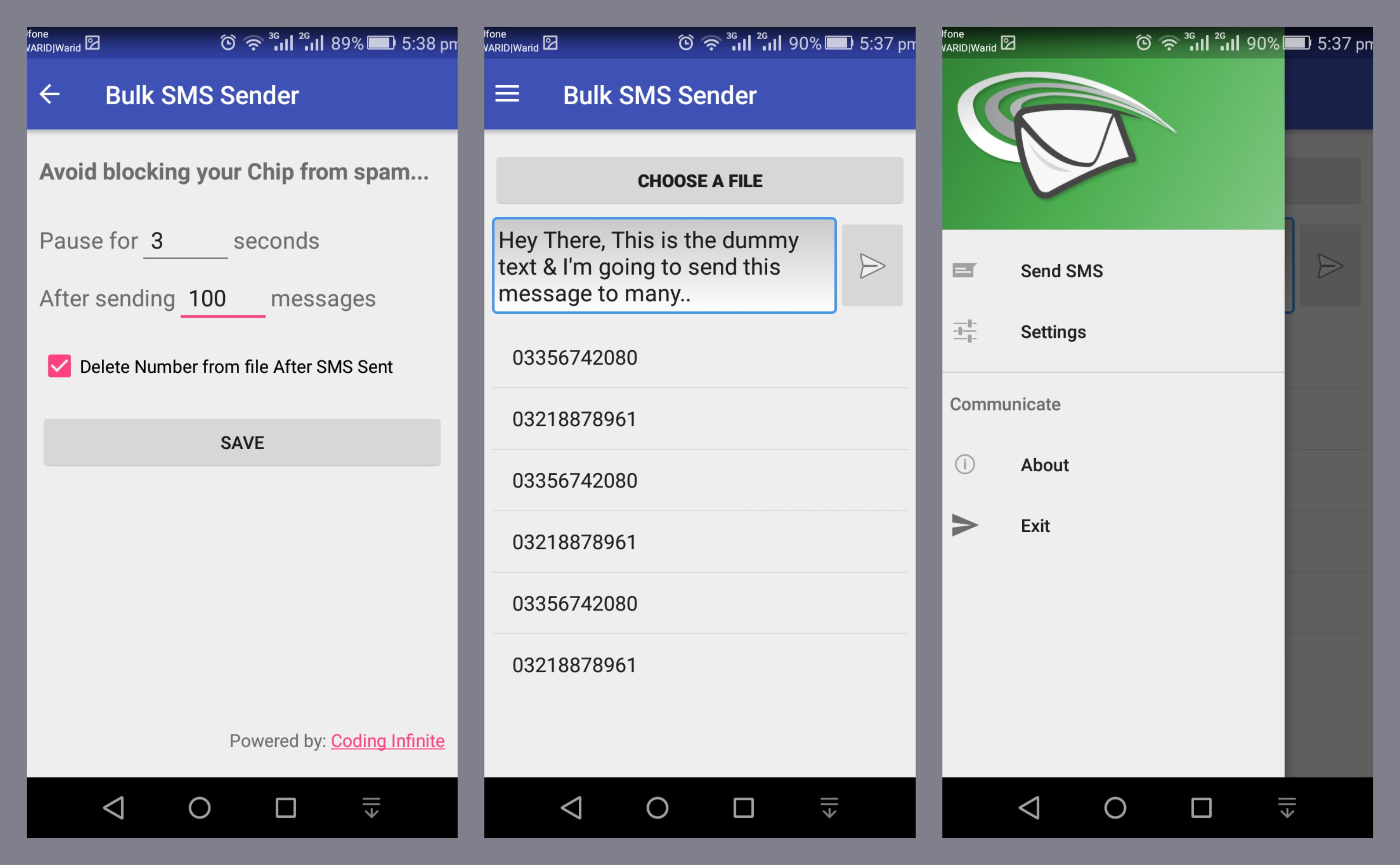 Bulk SMS Sender Open Source Android App