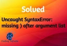 Uncaught SyntaxError: missing ) after argument list - Coding