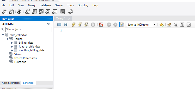 MySQL Workbench database access