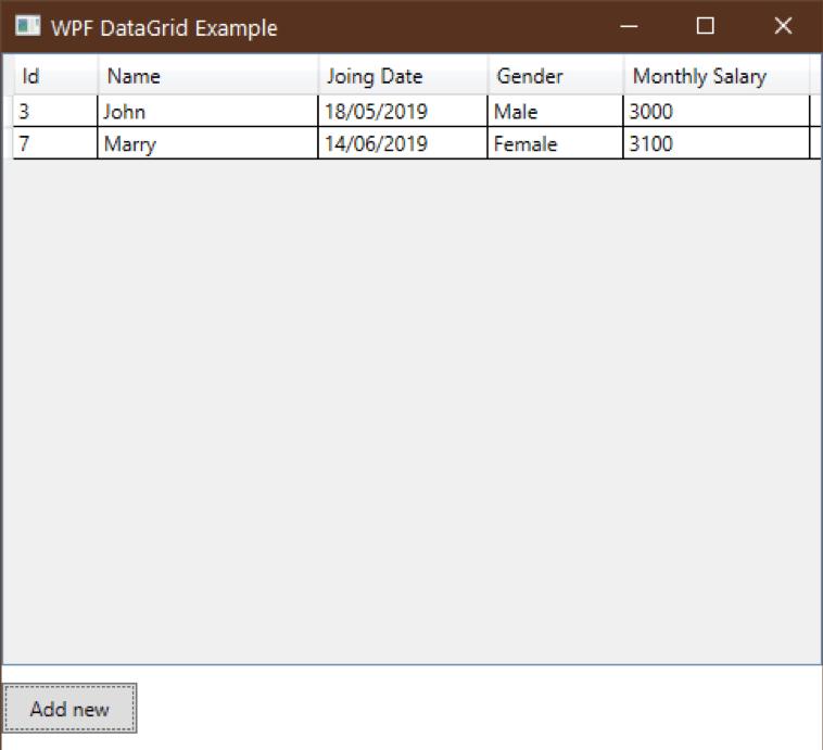 datagrid data