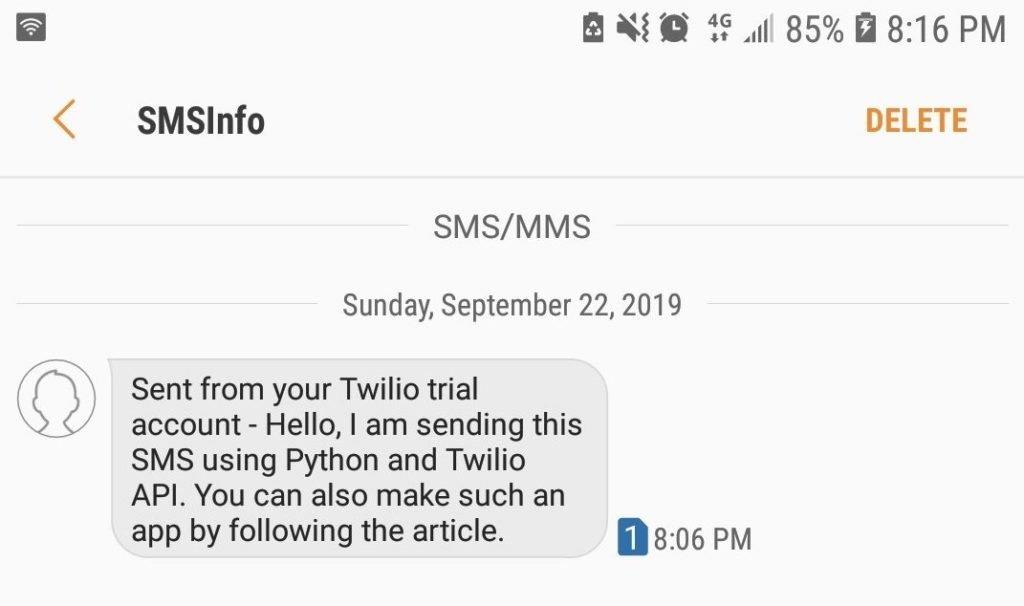 twilio test python