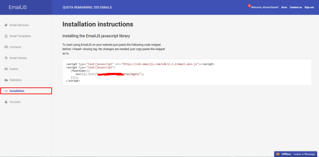 Javascript email task app installation