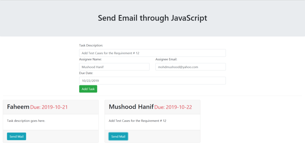 Send Email through javascript